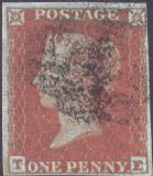 1852 1d Red SG12 Plate 165 'TE'
